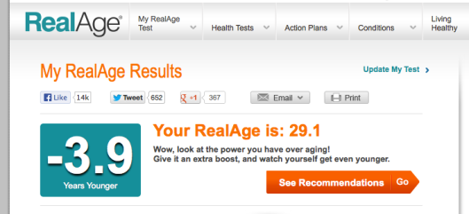 Real Age test results